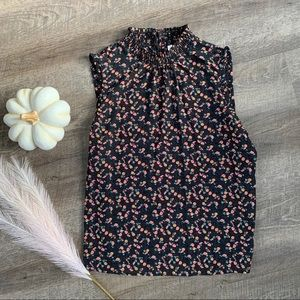 Black Floral Sleeveless Shell Top
